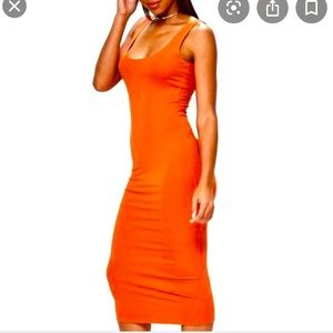 NWOT Misguided orange midi dress